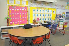I love the entire set up! The wall displays, where the job chart is, & bookshelves behind small group table.