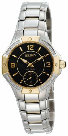 Seiko Women's SRKZ90 Coutura Diamond Sub-Dial Watch Seiko. $299.00. Reliable Japanese-quartz movement. Water resistant up to 330 feet (100 M). Solid stainless case and bracelet. Black dial. Save 46% Off!
