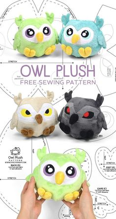 notice the cute feet.  Interesting eyes on the tan and gray ones - - - Owl plush free PDF pattern!