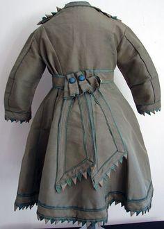 children's clothing 1875   Circa 1860, Rare Dress w/ Scallops
