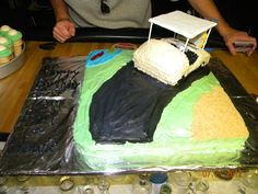all edible...golf cart, golf course carrot cake with cream cheese frosting