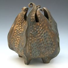 Carved porcelain urchin vessel bronze curlytopped by robertapolfus, $315.00