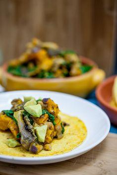 Chanterelle, White Bean & Cheesy Roasted Kabocha Tacos - Keepin' It Kind