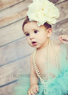 Life In Low Aperture | Baby Doll | 6 month pictures | Flower bow | pearls | tutu | turquoise | fort worth, burleson photographer | baby girl pictures