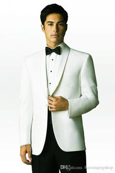 2016new Design One Button White Groom Tuxedos Shawl Lapel Best Man Groomsmen Mens Wedding Suits Jacket+Pants+Bow Tie Q6 Gray Prom Tuxedos Latest Trends Mens Formal Wear From Baixinqingshop, $78.4  Dhgate.Com