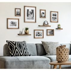 Frame Wall Collage, Wall Collage Decor, Gallery Wall Frames, Frames On Wall, Wall Clock And Picture Frames, Wall Collage Picture Frames, Gallery Wall Shelves, Picture Frame Shelves, Picture Frame Decor