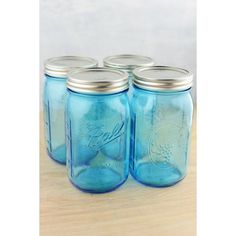 Mason Jars 4- 16 oz. Blue Wide Mouth Jars  Wide Mouth Blue Glass Quart Size Mason Jars /6.5in. Tall x  3.7in. Widelids Included - Walmart.com