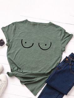 Cartoon Eyes O neck Short Sleeve Casual T Shirt For Women P1824231, White / US 8