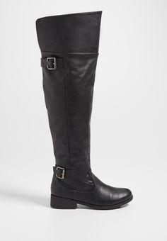 Saige over the knee faux leather boot in black