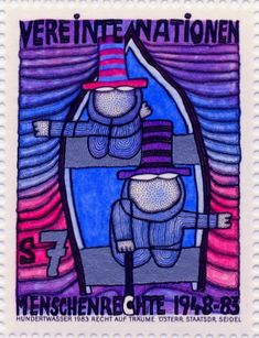 Hundertwasser Stamp Resource: 1983 The Second Skin, The Right to Dream, Window Right, Treaty with Nature, Homo Humus Humanitas, and Right to Create