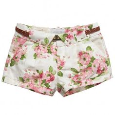 Mayoral Girls Pink Floral Cotton Shorts at Childrensalon.com