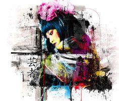 Abstract Tokyo White, mixed media by Patrice Murciano