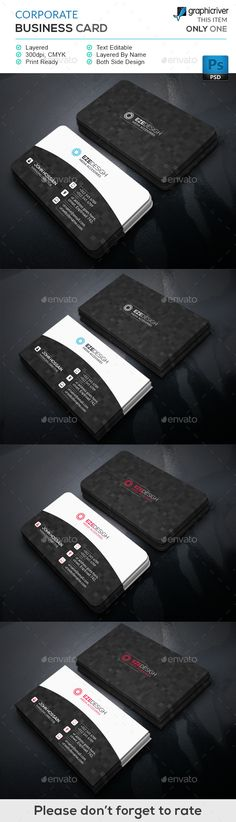 Corporate Business Card Template #design #print Download: http://graphicriver.net/item/corporate-business-card/11958752?ref=ksioks