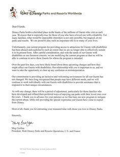 A Letter from Disney - Official Statement Re DAS & GAC