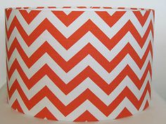 NEW Bold Bright Orange Chevron ZIG ZAG Fabric Drum Lampshade Lightshade Handmade | eBay