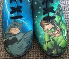 Batman & Green Lantern hand-painted trainers