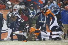 New England Patriots running back Brandon Bolden (38) breaks free for a touchdown as Denver Broncos strong safety Omar Bolden (31) and linebacker Danny Trevathan (59) pursue during the second half of an NFL football game, Sunday, Nov. 29, 2015, in Denver.