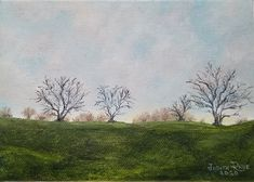 original oil painting, landscape, trees, country, clouds, small, gift, nature, beauty, peaceful, landscapes, tree, home, wall, decor, art
