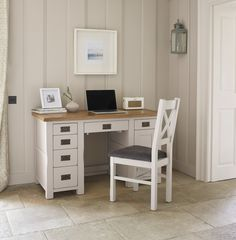 Kemble Painted Solid Oak Office Desk - A good base for your computer, whether you use it to work or play