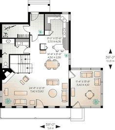 First Floor Plan of Country   Craftsman   House Plan 65002