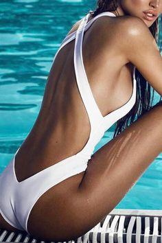 Spaghetti Strap Backless Plain One Piece - Swimwear - Sexy Bikini One Piece Swimwear, One Piece Swimsuit, Body Sculptant, Mädchen In Bikinis, Monokini Swimsuits, Bikini Fitness, Swimwear Fashion, Women Swimsuits, Sexy Bikini