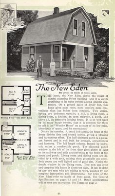 "Aladdin Homes ""built in a day"" - 1919 - The New Eden Vintage House Plans, Working Drawing, Home Catalogue, Vintage Architecture, Dutch Colonial, Sims 4 Houses, Home Decor Trends, Historic Homes, House Floor Plans"