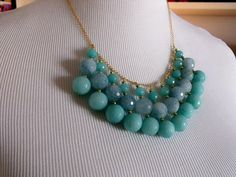 Aqua blue and gold bib necklace by rachelmulherin on Etsy, $75.00