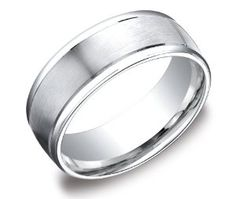 Men's Platinum 8mm Comfort Fit Wedding Band Ring with High Polished Round Edges and Satin Center