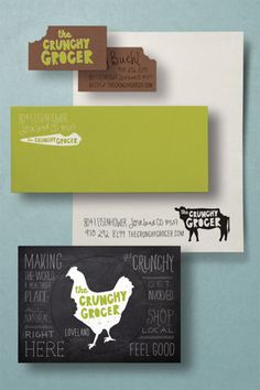 the crunchy grocer, awesome use of die cut, natural colors with bright green pop