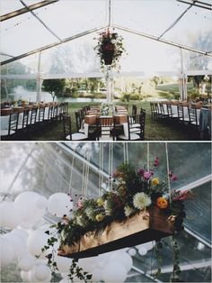 hanging flowerbox decoration #hangingflowers #weddingflowers #weddingchicks http://www.weddingchicks.com/2014/01/13/eclectic-midwest-wedding/