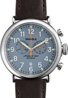 Shinola Runwell  47mm, Slate Blue, Deep Brown Leather Strap watch is now available on Watches.com. Free Worldwide Shipping & Easy Returns. Learn more.