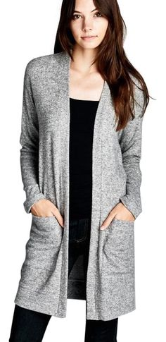 Semi-look fit, long sleeve open closure cardigan. Pocket at side hips. This cardigan is made with medium weight brushed two-toned hacci knit fabric that has a very soft fuzzy texture, drapes well and has good stretch.  Fabric: 21% Polyester, 74% Rayon, 5% Spandex  Made In U.S.A | Shop this product here: spree.to/bazs | Shop all of our products at http://spreesy.com/socialfashionboutique    | Pinterest selling powered by Spreesy.com