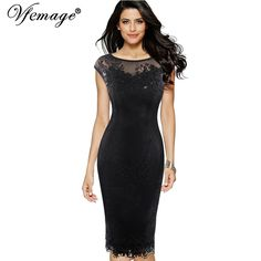 Vfemage Womens Sexy Sequins Crochet Butterfly Lace Party Bodycon Evening Mother of Bride Special Occasion Dress 3998 //Price: $43.98 & FREE Shipping //     #partysupplies