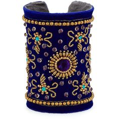 Chamak by Priya Kakkar Velvet Floral Beaded Cuff Bracelet ($63) ❤ liked on Polyvore featuring jewelry, bracelets, blue, velvet jewelry, chamak by priya kakkar, beaded cuff bracelet, flower jewelry and beaded bangles