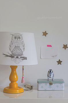 DIY Lampe mit Lavendeldruck - glasklar+kunterbunt