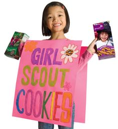 Walking poster for cookie booth. Great craft the meeting before booth and keeps girls busy at the booth.