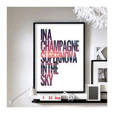 "Lyric Quotes ('Champagne Supernova') - 11"" x 17"" A3 Art Print  www.etsy.com/shop/BrixtonCreative   #oasis"