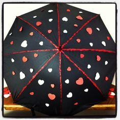 Umbrella with Red & White Hearts