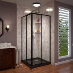 DreamLine Cornerview 40 in. W x 72 in. H Framed Sliding Shower Door in Satin Black with 42 in. x 42 in. Base in White DreamLine Cornerview 40 in. W x 72 in. H Framed Sliding Shower Door in Satin Black with 42 in. x 42 in. Base in White Corner Tub Shower, Shower Base, Shower Floor, Shower Tub, Corner Showers, Corner Shower Enclosures, Small Showers, Frameless Sliding Shower Doors, Glass Shower Doors