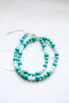 Turquoise Colored Round Glass Bead Necklace