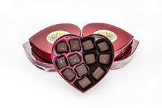 Valentine Dark Chocolate Covered Sea Salt Caramels 12 Pc in Elegant Heart Box - http://bestchocolateshop.com/valentine-dark-chocolate-covered-sea-salt-caramels-12-pc-in-elegant-heart-box/
