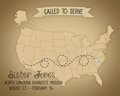 Personalized  Called to Serve Missionary Map  US Map