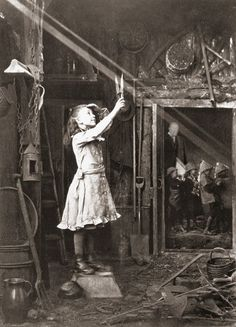 """Cutting a sunbeam. """"Adam Diston was born in Edinburgh around 1827.  He had a long career as a professional photographer in Fife, and won many medals at international photography exhibitions."""""""