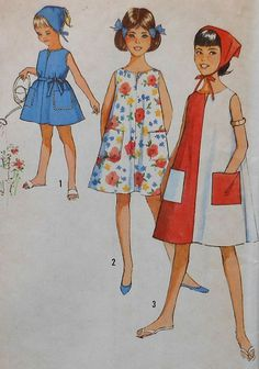 Vintage Girls Dress Sewing Pattern UNCUT Size by latenightcoffee
