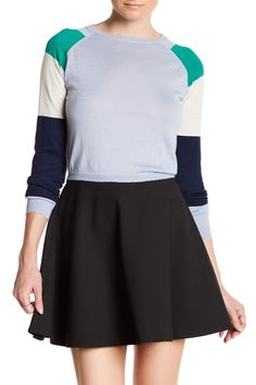 Cashmere Colorblock Cropped Sweater