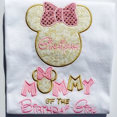 DISNEY MINNIE MOUSE INSPIRED- MOMMY OF THE BIRTHDAY GIRL ***THIS SHIRT WILL COME…