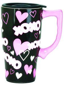 FULL COLOR  14 oz. CERAMIC TRAVEL MUG -  XOXO HEARTS HUGS AND KISSES DESIGN