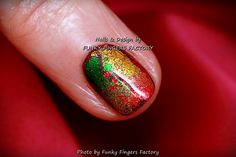 Gelish Autumn Foils nails by FUNKY FINGERS FACTORY