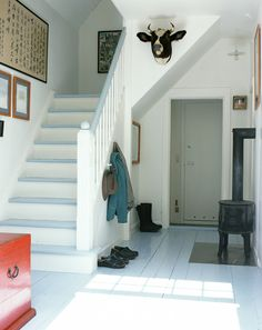 painted stairs, white walls, gray above Painted Stairs, Painted Floors, Basement Inspiration, House Stairs, Basement Stairs, White Walls, White Wood, White Hallway, White Stairs