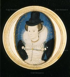 Hilliard, Nicholas (1547-1619) Miniature of an unknown woman.-I love this portrait! It is late Elizabethan attire that is lovely.